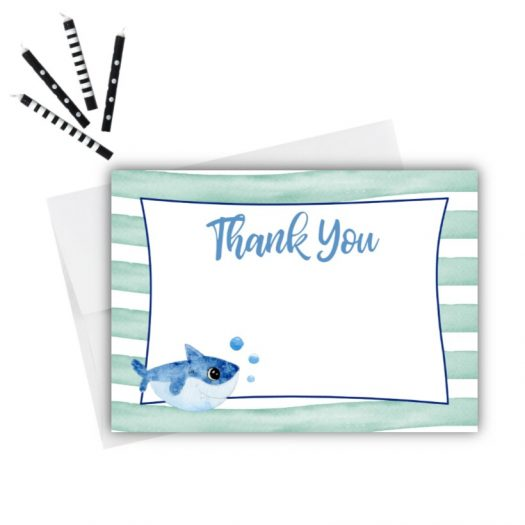 Baby Shark Birthday Thank You Card