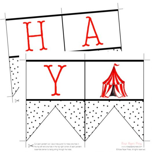 Circus Printable Birthday Banner