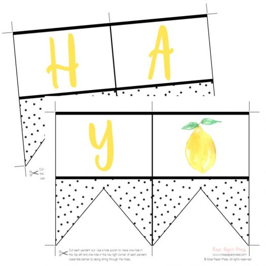 Lemon Printable Birthday Banner