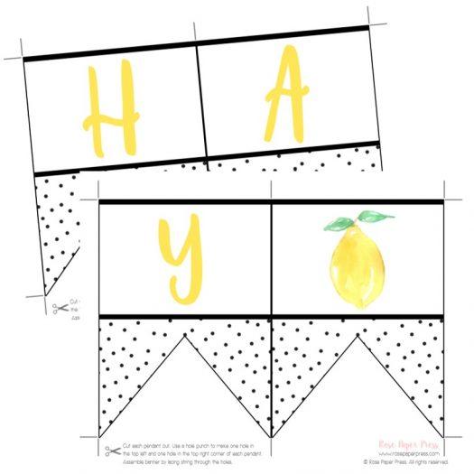 Lemon Printable Birthday Banner
