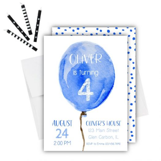 Blue Balloon Birthday Invitation