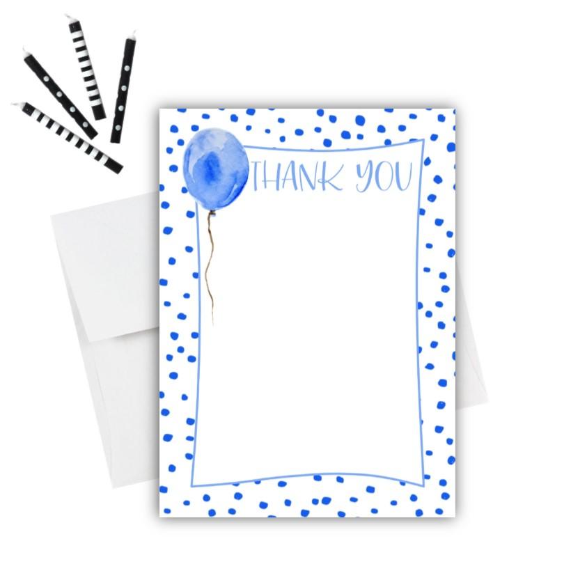 Blue Balloon Thank You Card