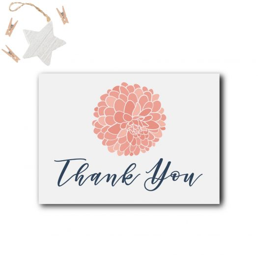Blush Navy Baby Shower Thank You Card