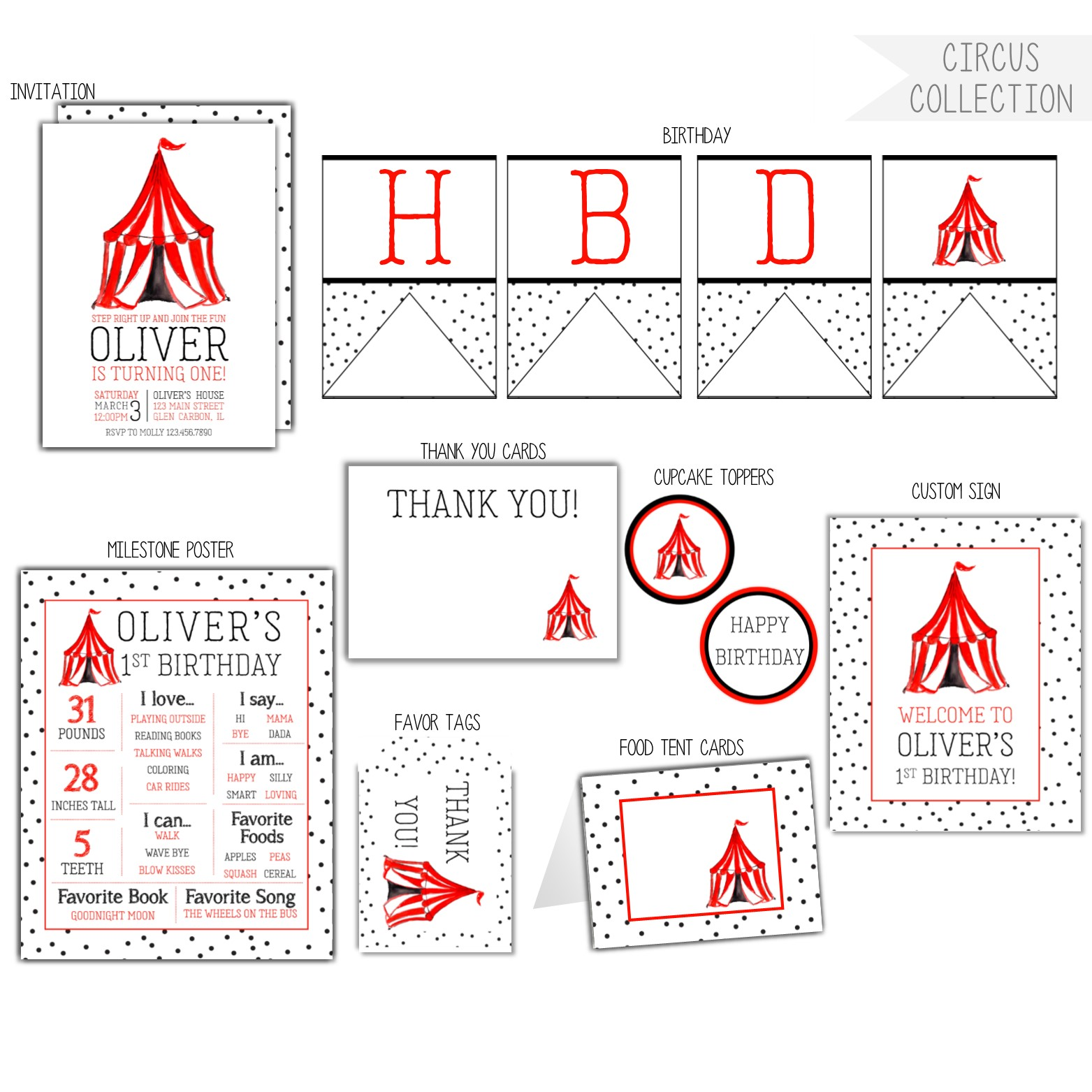 Circus Thank You Cards Rose Paper Press