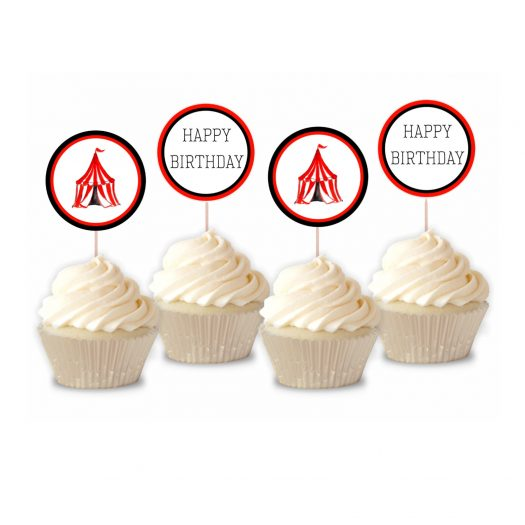 Circus Birthday Cupcake Toppers