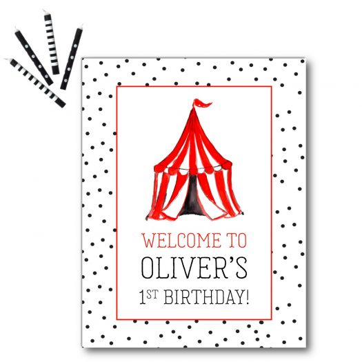 Circus Birthday Welcome Sign