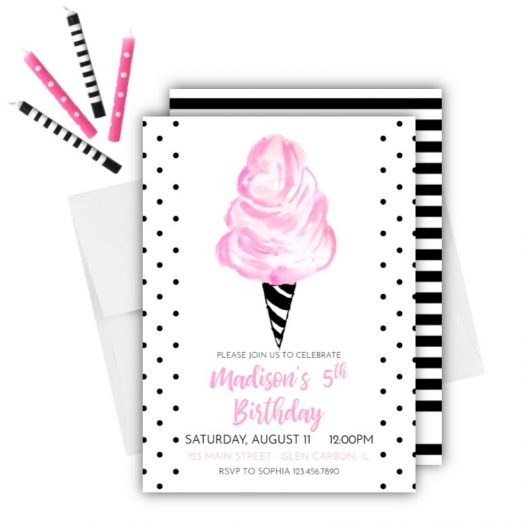 Cotton Candy Birthday Invitation