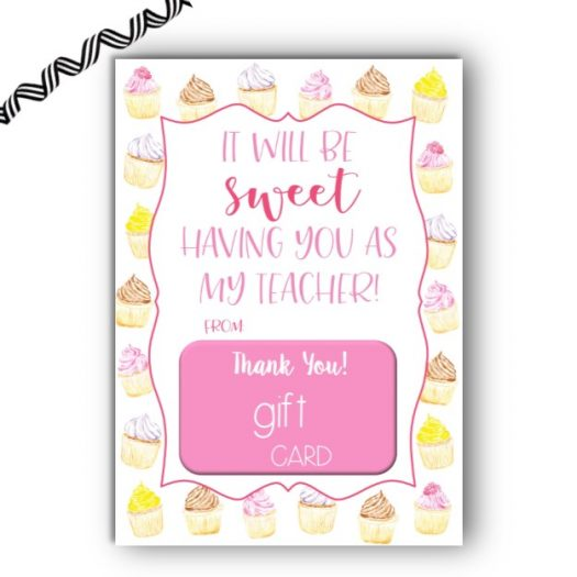 Cupcake Back to School Gift Card Holder