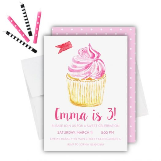 Cupcake Birthday Invitation