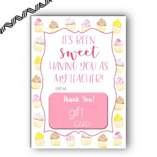 Cupcake End of School Gift Card Holder