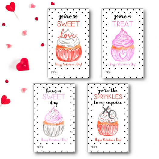 Cupcake Kids School Valentines Cards