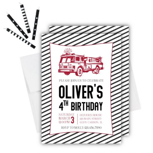 Firetruck Birthday Invitation