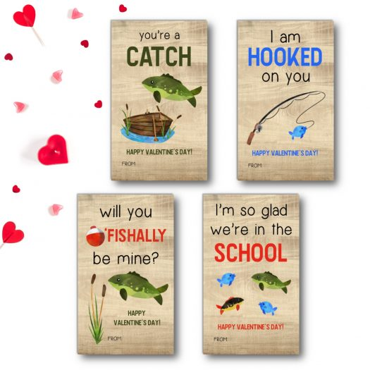 Fishing Kids School Valentines Cards