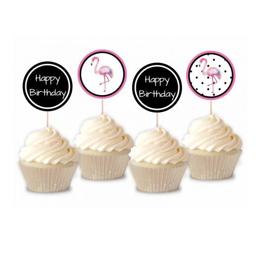 Flamingo Birthday Cupcake Toppers
