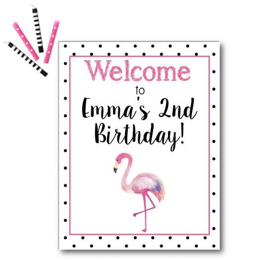 Flamingo Birthday Welcome Sign