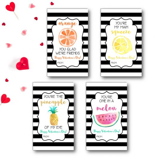 Fruit Kids School Valentines Cards