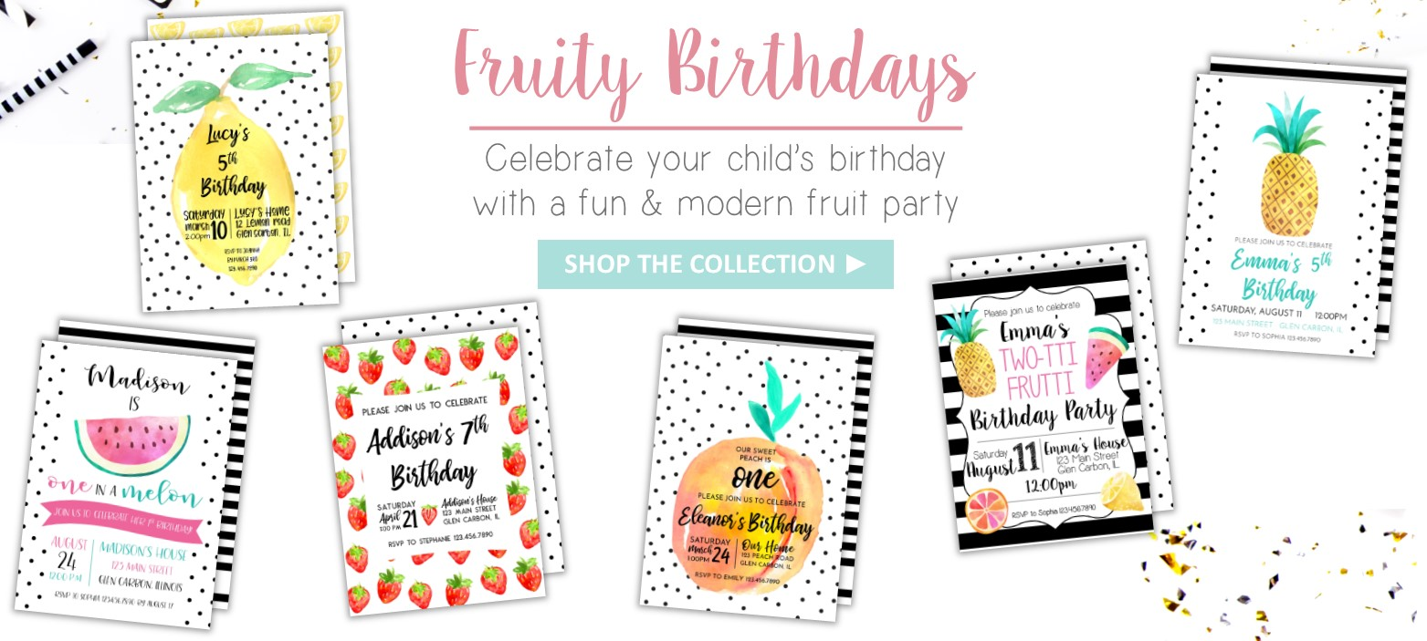 Fruit Birthday Invitations