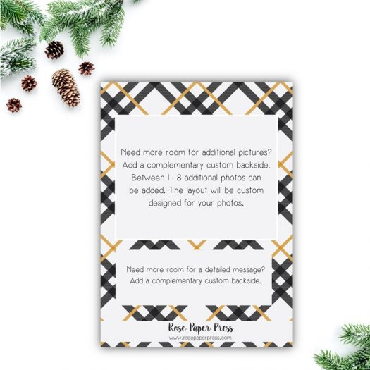 Gold Black Plaid Holiday Card Back