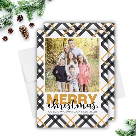 Gold Plaid Christmas Card