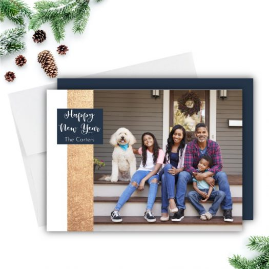 Gold Ribbon Holiday Card