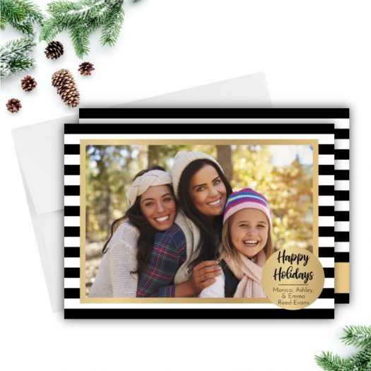 Gold Stripes Holiday Family Photo Card