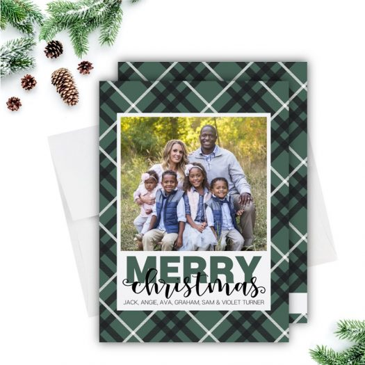 Green Plaid Holiday Card