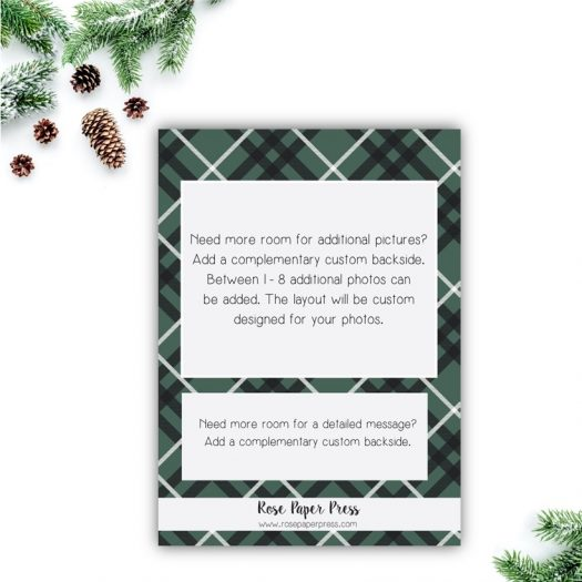 Green Plaid Holiday Card Back