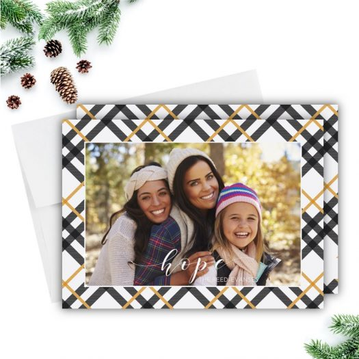Hope Gold Plaid Holiday Card