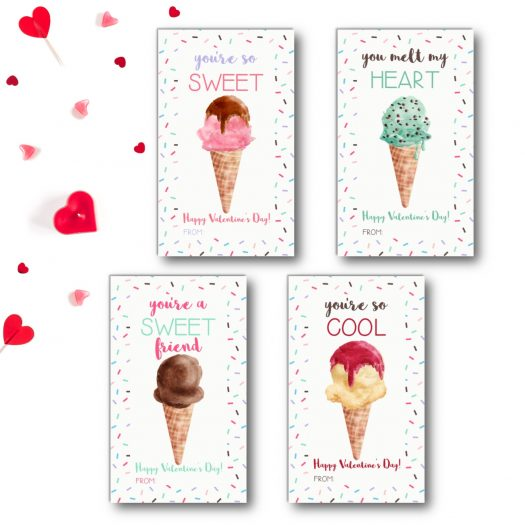 Ice Cream Kids School Valentines Cards