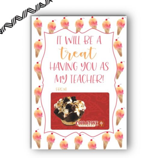 Ice Cream Teacher Gift Card Holder