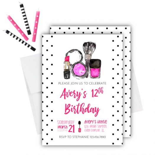 Makeup Birthday Invitation