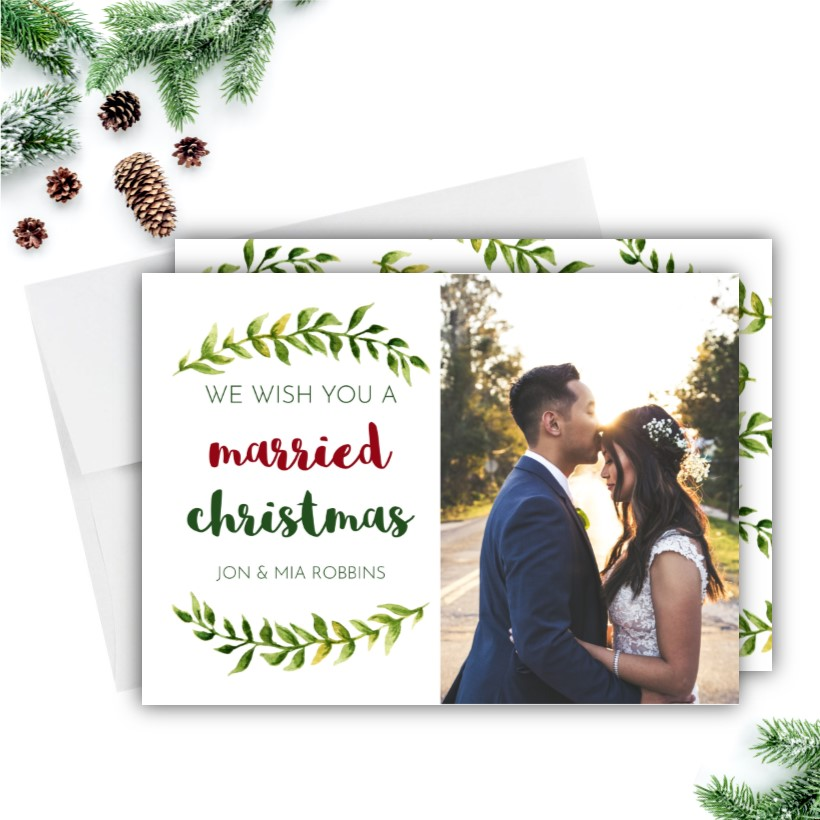 Newlywed Christmas Photo Cards Rose Paper Press
