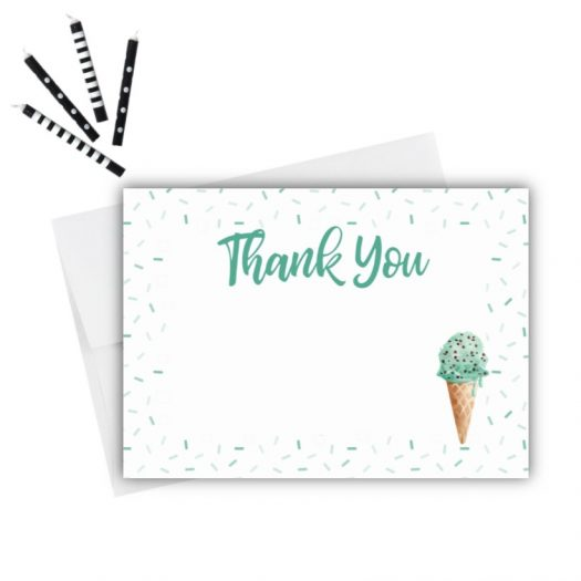 Mint Ice Cream Thank You Card
