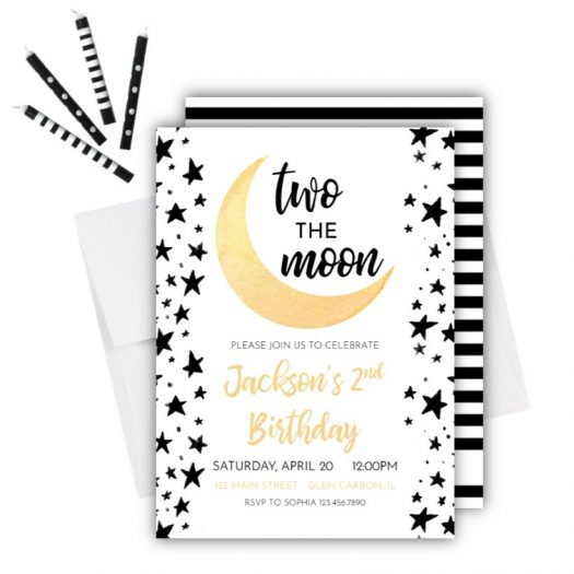 Moon 2nd Birthday Invitation