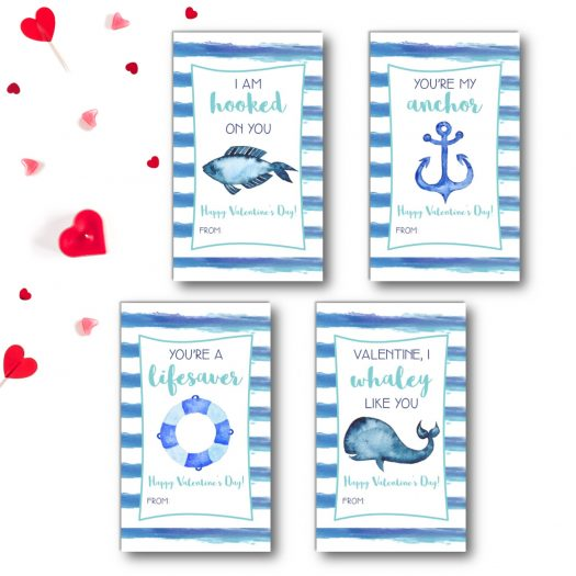 Nautical Kids School Valentines Cards