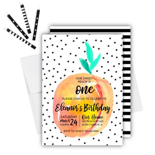 Peach Birthday Invitation