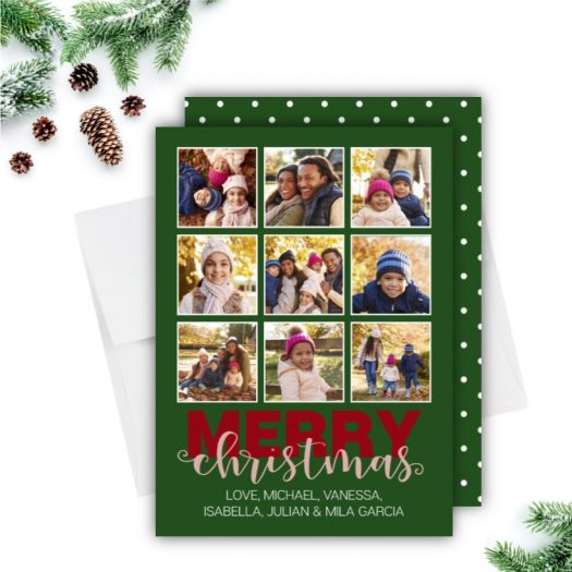 Photo Collage Dots Christmas Card