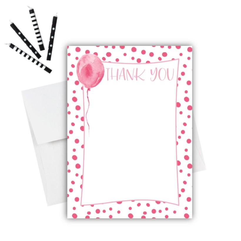 Pink Balloon Thank You Card