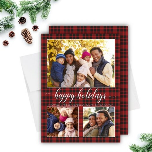 Plaid Happy Holidays Card