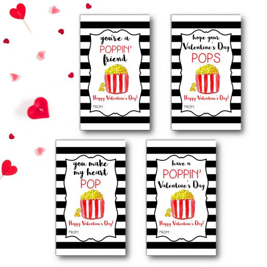 Popcorn Kids School Valentines Cards