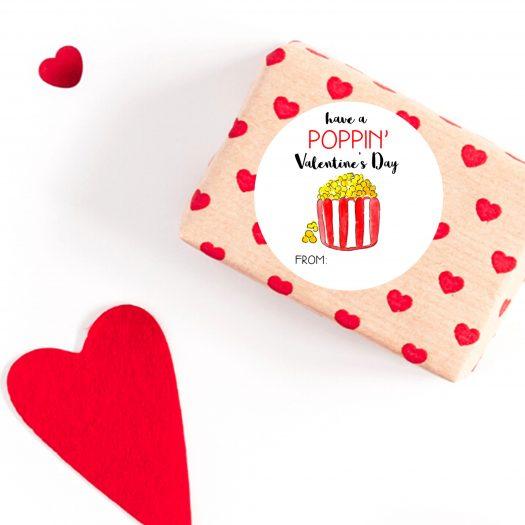 Popcorn Valentines Stickers