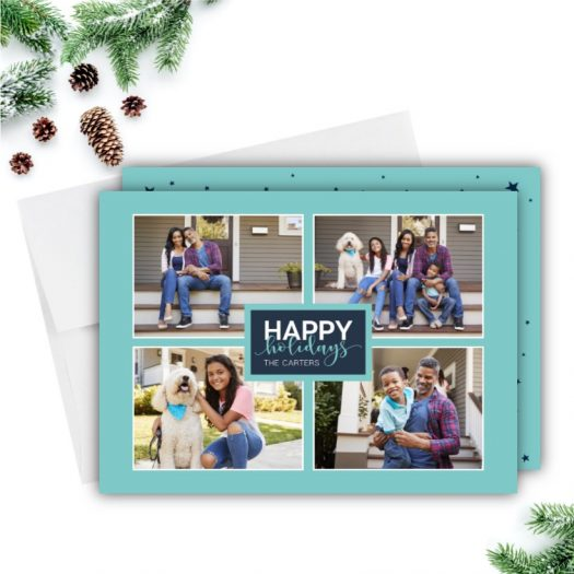 Quad Stars Holiday Photo Card