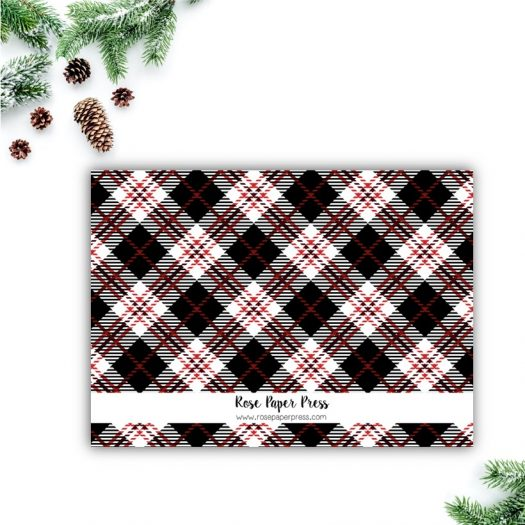 Red Plaid Holiday Card Back