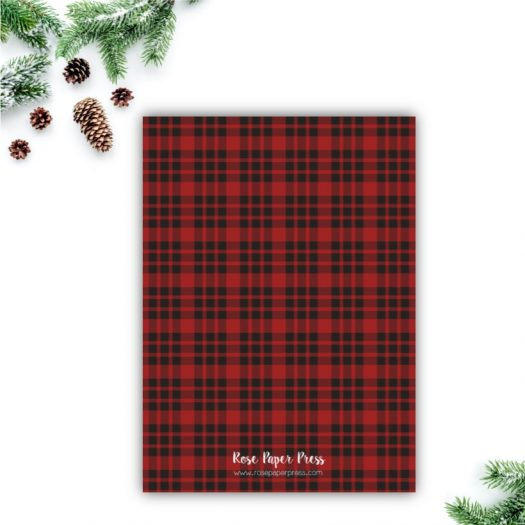 Rustic Plaid Holiday Card Back