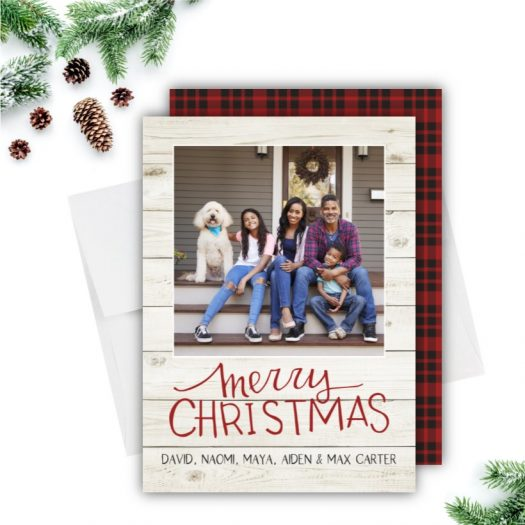 Rustic Shiplap Plaid Holiday Card