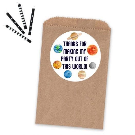 Space Birthday Favor Sticker