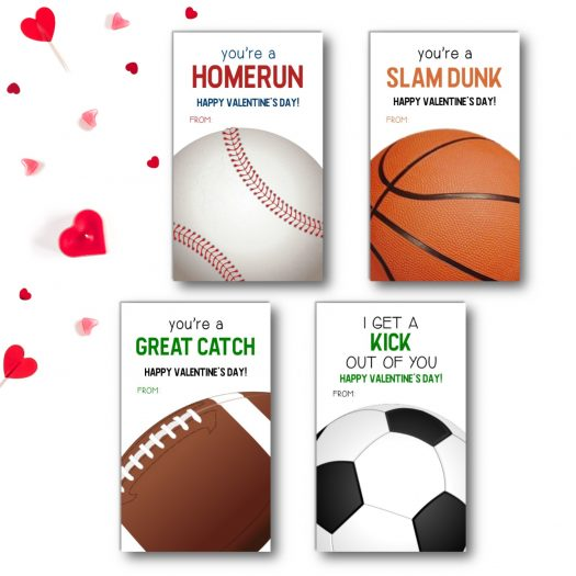 Sports Kids School Valentines Cards