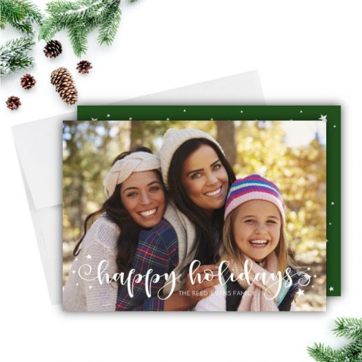 Stars Lettering Holiday Photo Card