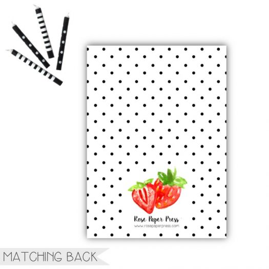 Strawberry Birthday Invitation Back