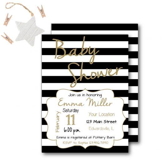 Stripe Baby Shower Invitation